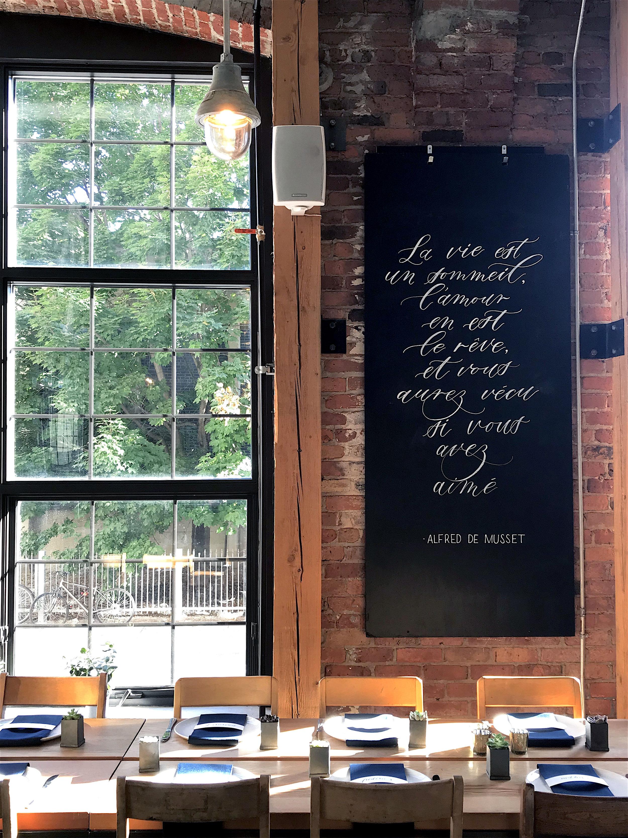 Old Montreal Wedding Venue Chalkboard Calligraphy