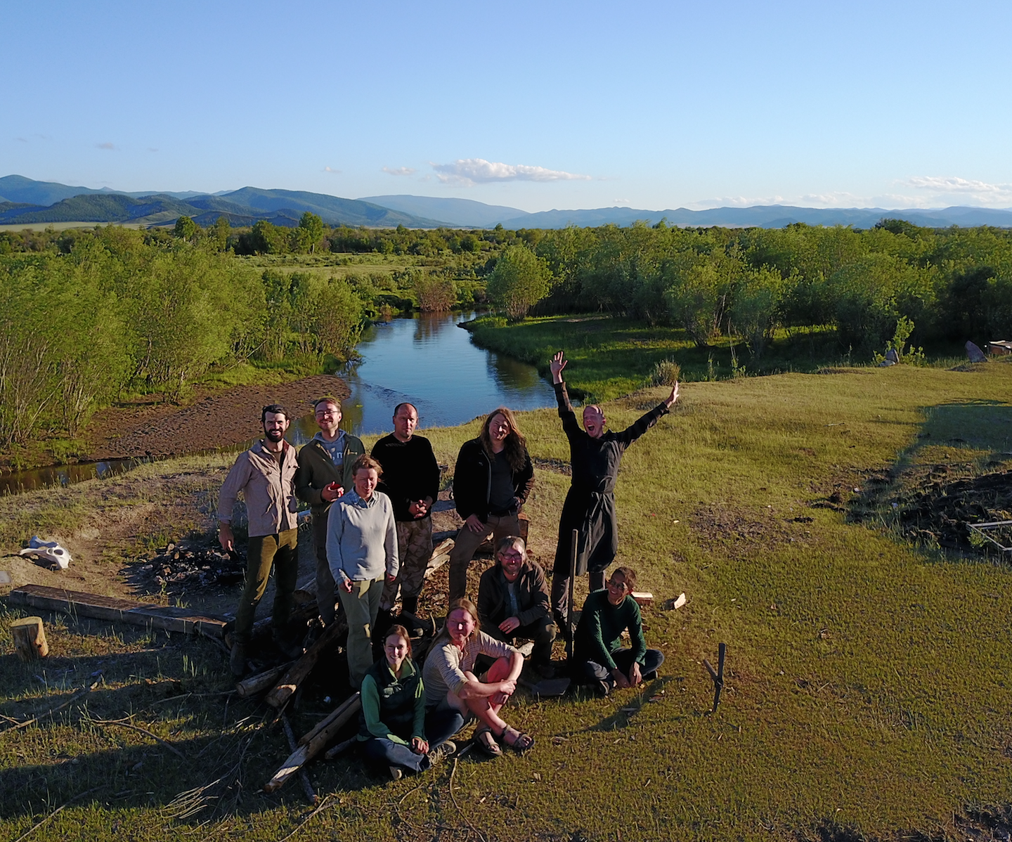 The First Tunnug 1 Expedition Team [Right to Left]: Trevor Wallace, Jegor Blochin, Anatolie Luboshnikov, Gino Caspari, Jegor Mazurkievich, Kasia Langenegger, Maxim Eltsov, Kezhik Mongush, Valeria Makarova, Timur Sadykov