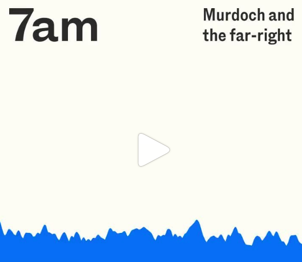 Listening - Murdoch and the Far Right:7am - My notes -Schwartz Media's daily podcast 7am is making a play to become Australia's answer to The Daily, and they're not too subtle about that ambition either. The show's format is strikingly similar, even down to host Elizabeth Kulas's script. Nevertheless, Kulas has a likeable manner and, considering the budget would be a fraction of that of The Daily's, 7am is produced very well.I was glued to this episode on The Australian's reporting, the paper's tilt towards extreme right-wing views and the correlation between Murdoch's media empire and the rise of the far-right in Australia. It reminded me of the responsibility of journalists and how fear and outrage is the life force behind Murdoch's oligopoly.