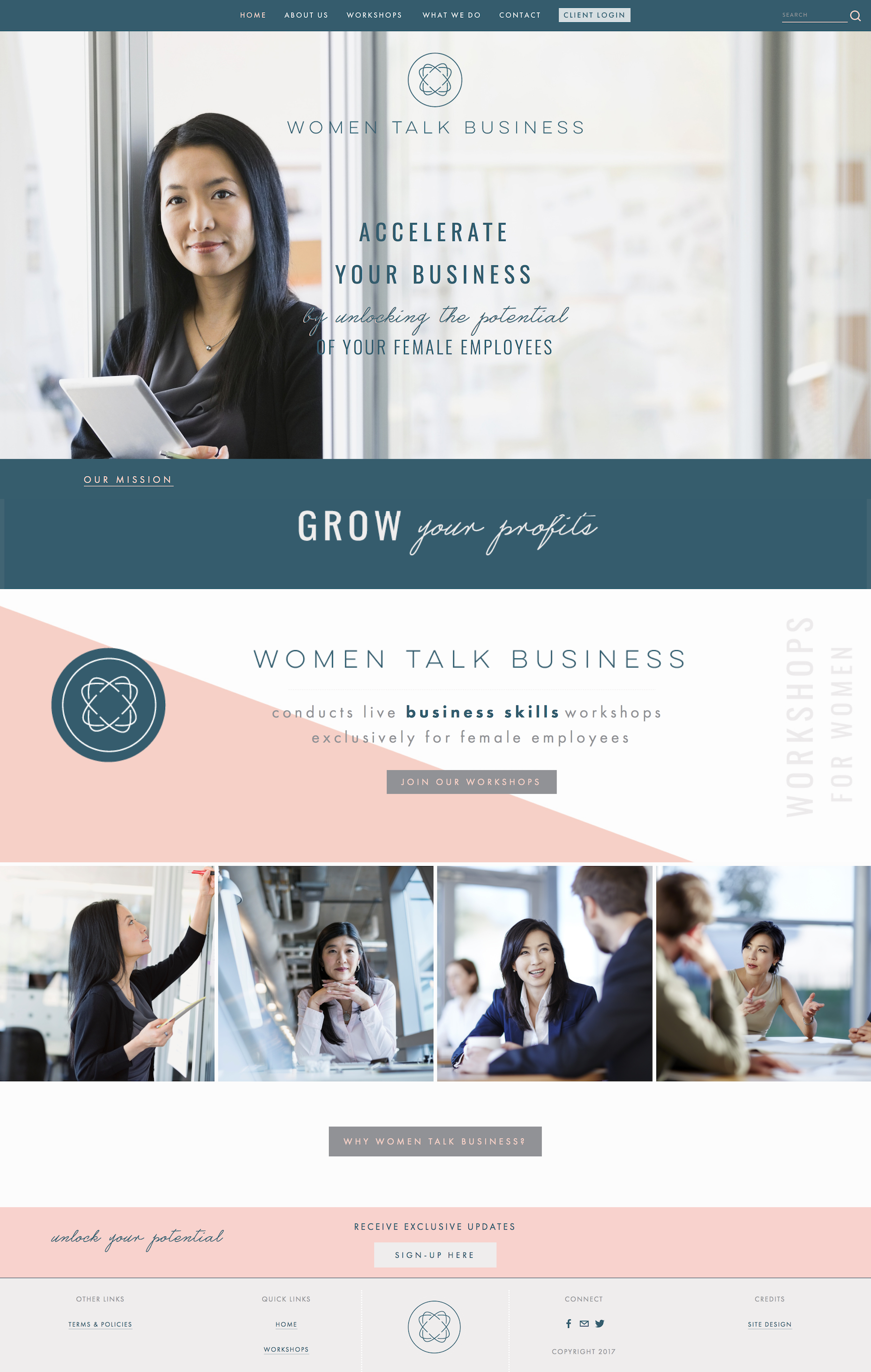 Squarespace Website Design for Coaching Brand, Women Talk Business, by Delilah Creative | www.delilahcreative.com