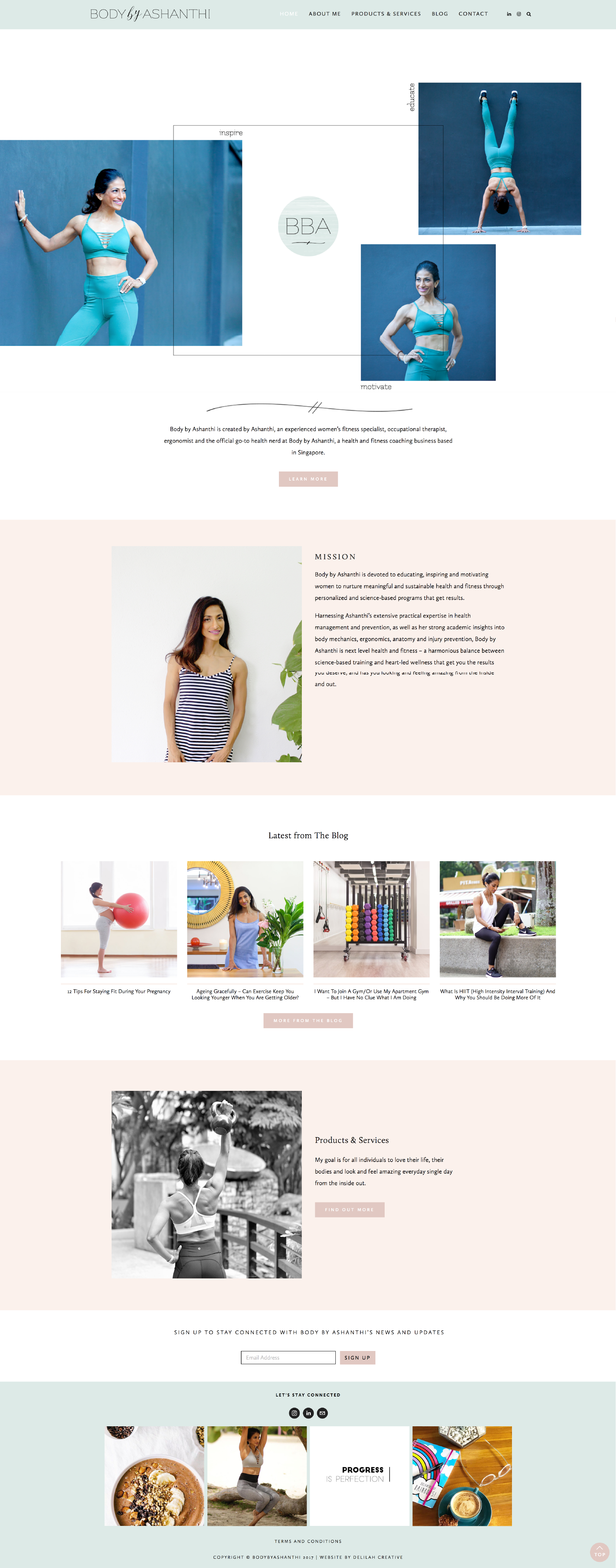 Logo and Squarespace Website Design for Personal Trainer and Nutritionist, Body by Ashanthi by Delilah Creative | www.delilahcreative.com