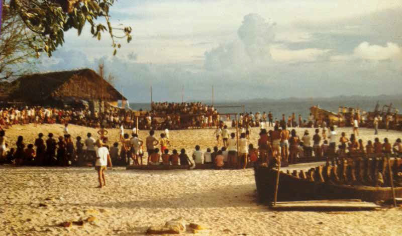 Pulau Tengah in 1978 while it was used as UNHCR Refugee Transit Camp. The photo was taken on Long Beach, then known as Trung Dao.