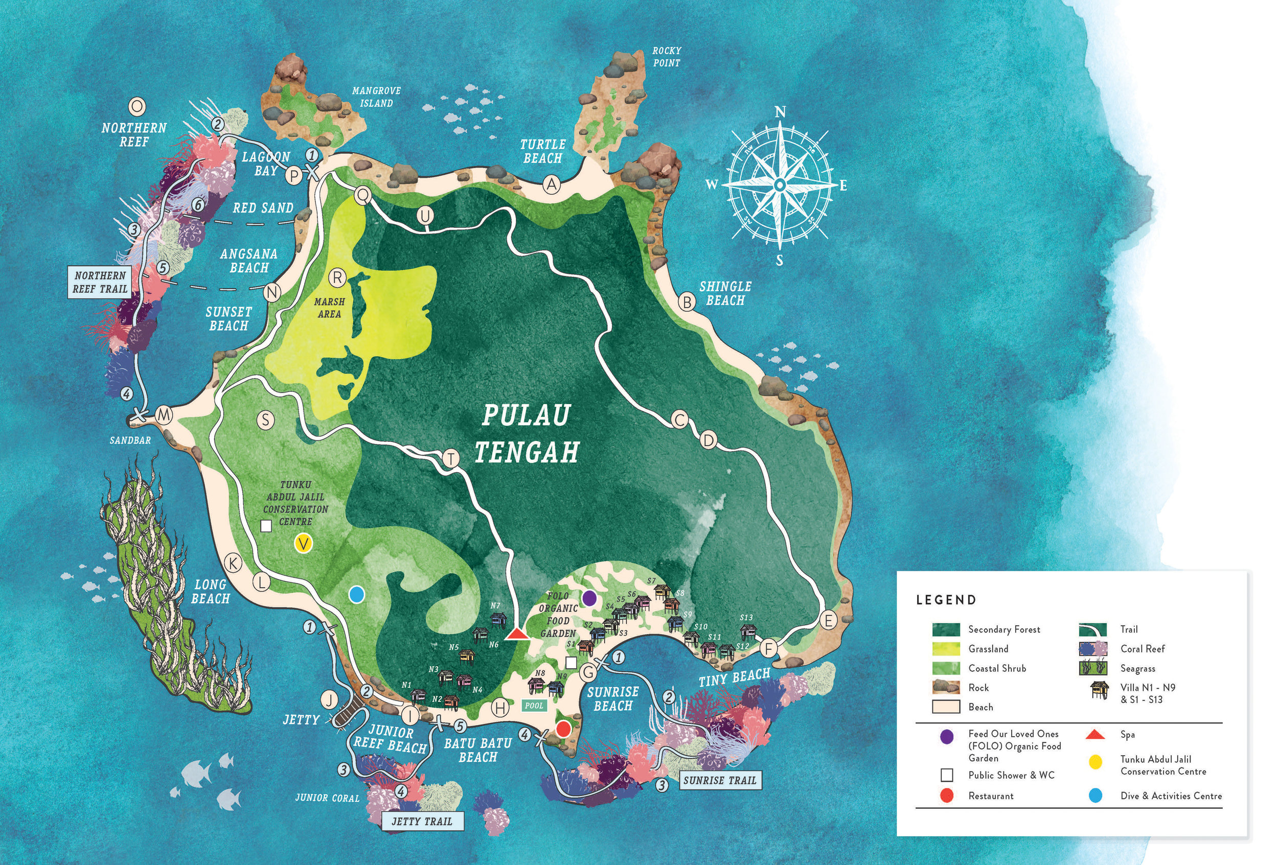 Click on the map for more information on points of interest around Tengah Island
