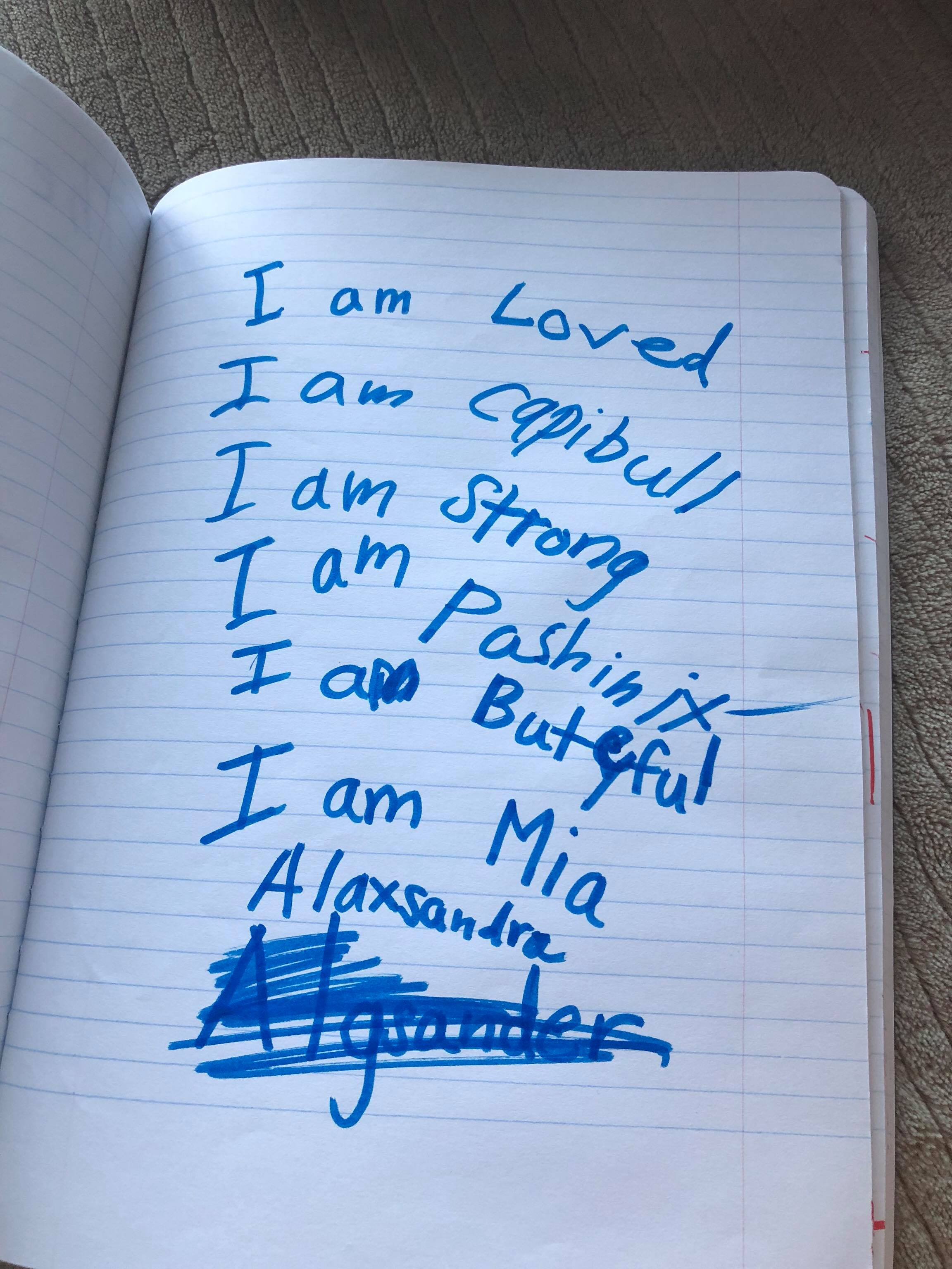 Written by my 7 yo daughter