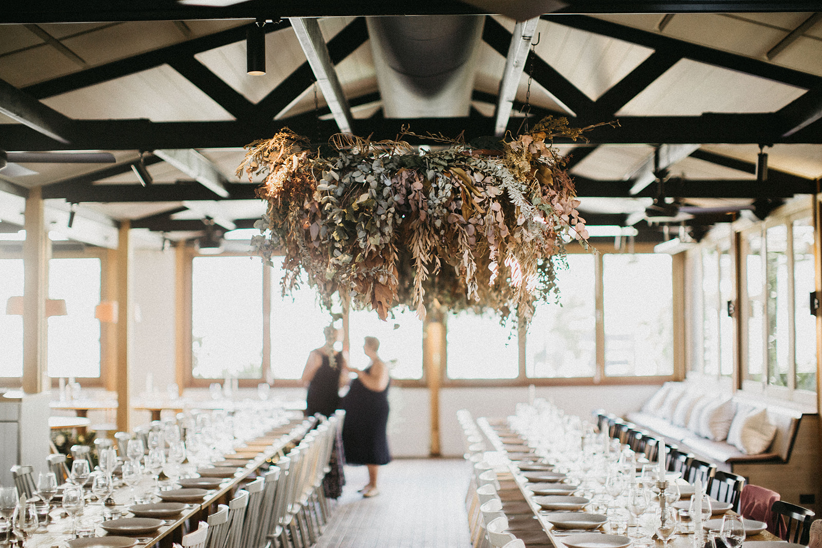 Dining Room; Long Tables; Hanging florals.jpg