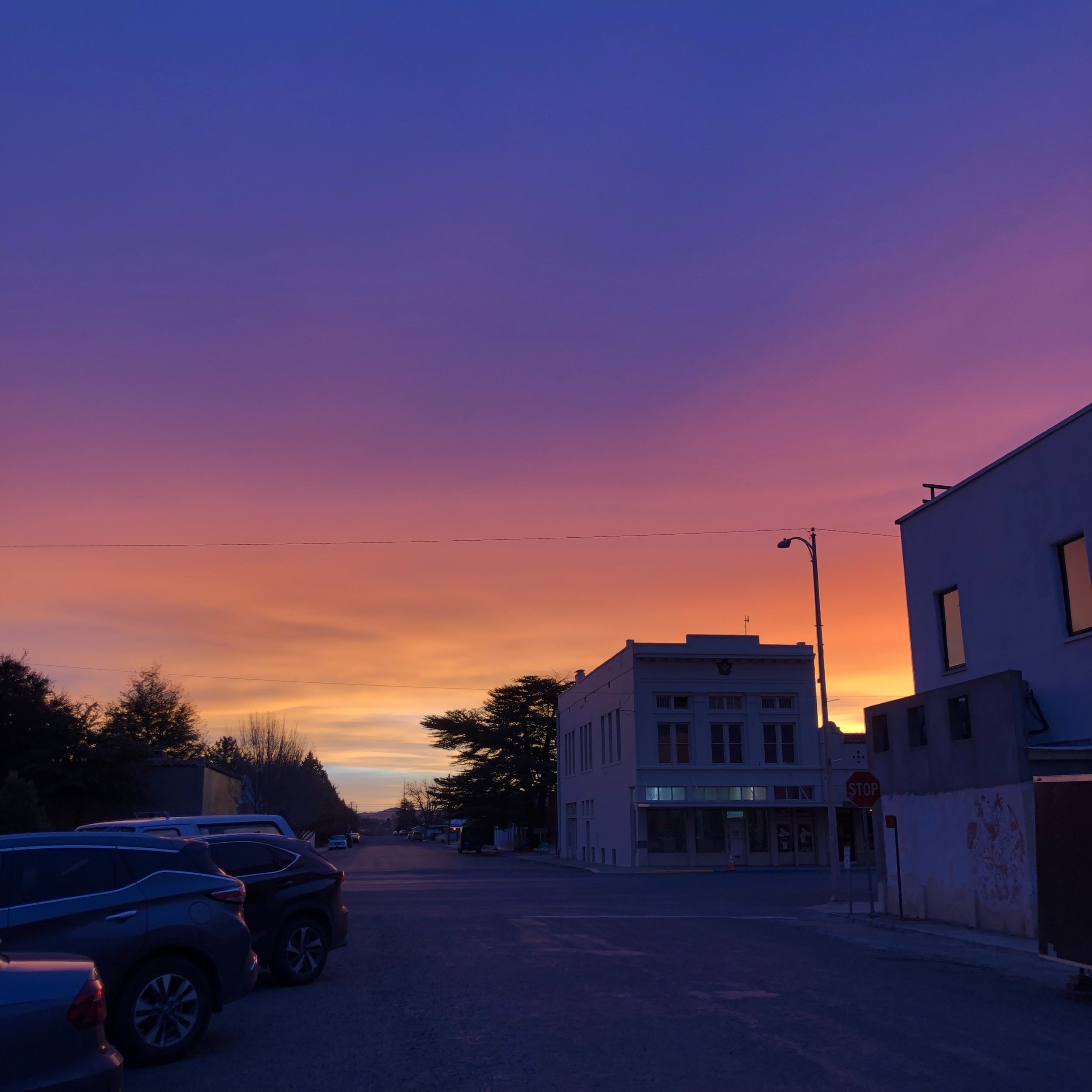 Sunrise over downtown Marfa