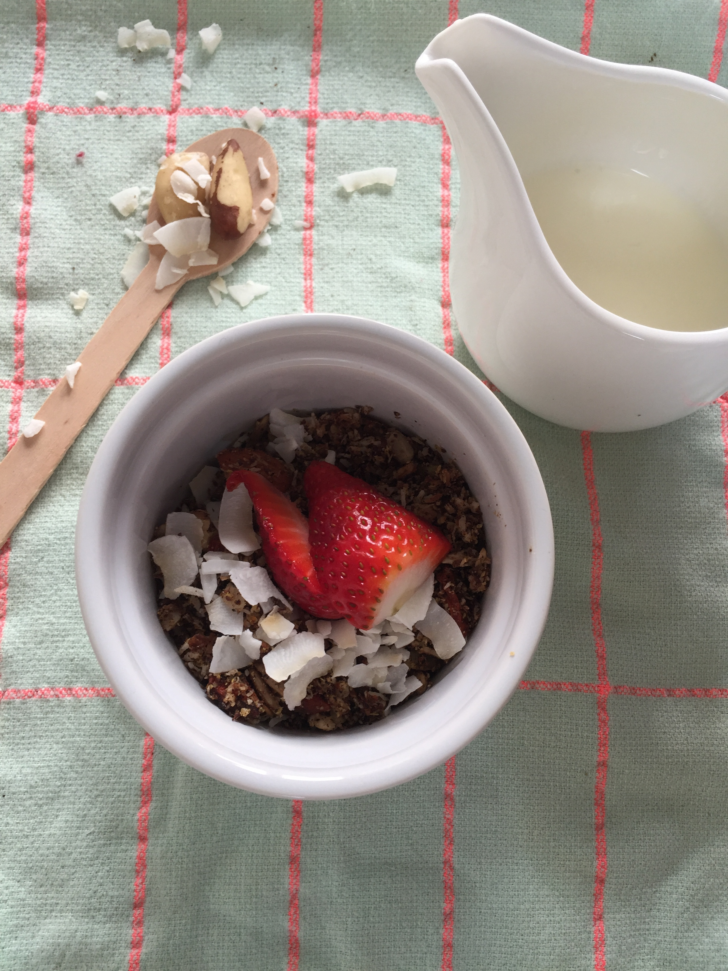 - Prep Time: 10 mins Makes: 10 ServingsIngredients3 cups roughly chopped almonds, brazil nuts, walnuts and/or macadamias½ cup sunflower seeds & pepitas1 cup coconut shredded½ cup dessicated coconut½ cup ground flax meal¼ cup goji berries2-3 tablespoons coconut oilA pinch of salt* Organic where possible is preferred, nuts are always rawMethod1. Mix all dry ingredients in bowl and coat with coconut oil. Spread out on an oven tray and roast for 20 minutes at about 150 degrees until golden brown.2. When you eat, add plain yoghurt (if tolerated), almond milk and some grated apple or berries is always yummy but experiment with what your personal tastes are!Note: You can add gluten free, organic rolled oats if desired.