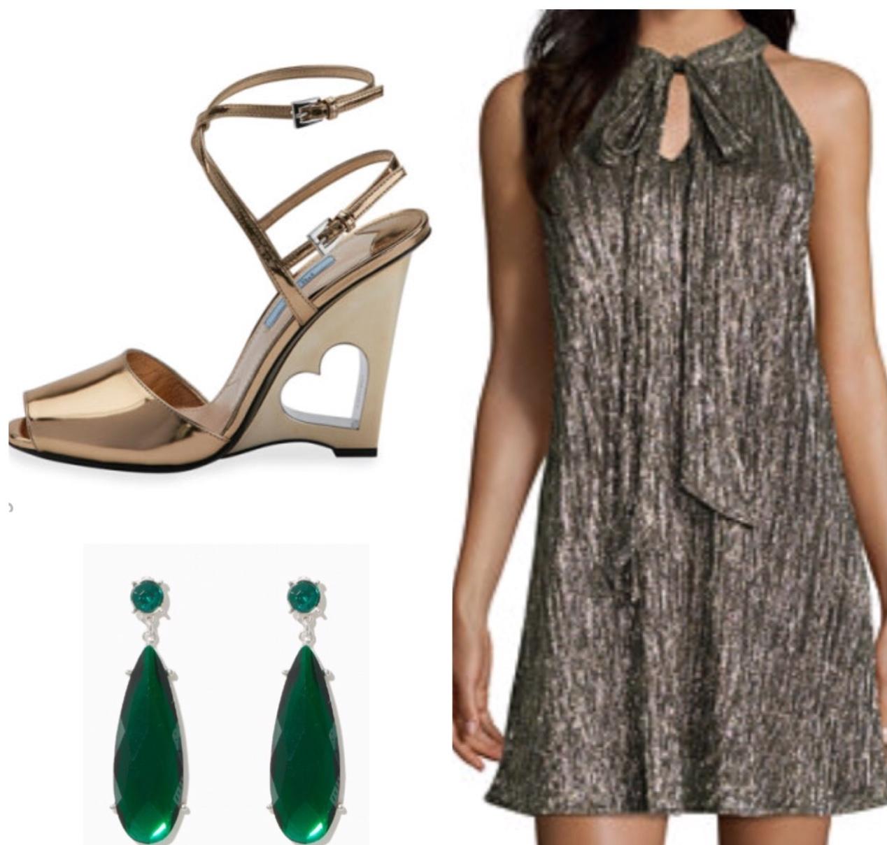 Sleeveless Dress      Teardrop Earrings      Prada Wedge Sandal