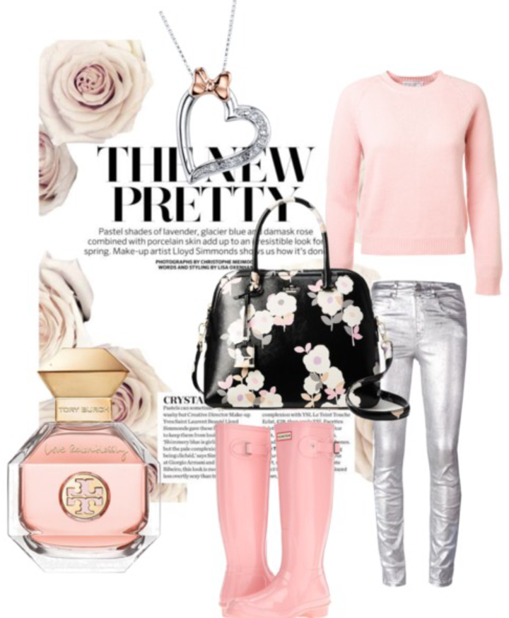 Cashmere Sweater    Silver Jeans    Pink Hunter Boots    Kate Spade Purse    Heart Necklace    Tory Burch Perfume