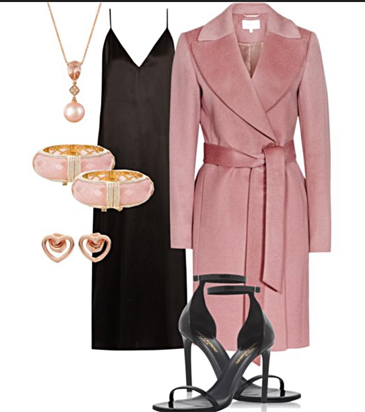 Satin Slip Dress    Pink Coat    Black Heels    Kate Spade Pink & Gold Bangle    Heart Shape Earrings    Necklace