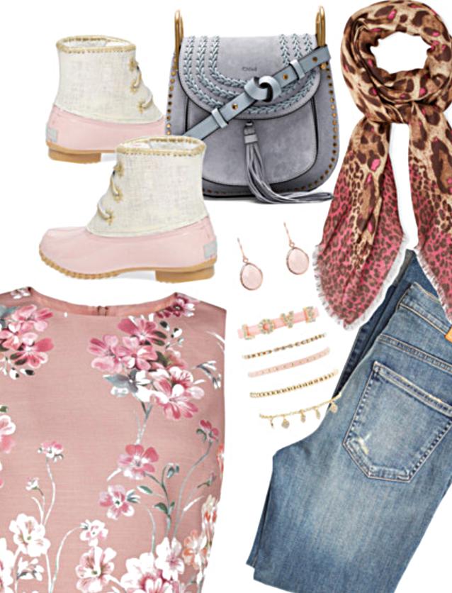 "Floral Top    High Rise Blue Jeans    Chloe Bag    Love Layering Bracelets    Rose Gold Earrings    Printed Scarf    Jack Rogers ""Chloe"" Rain Boots"
