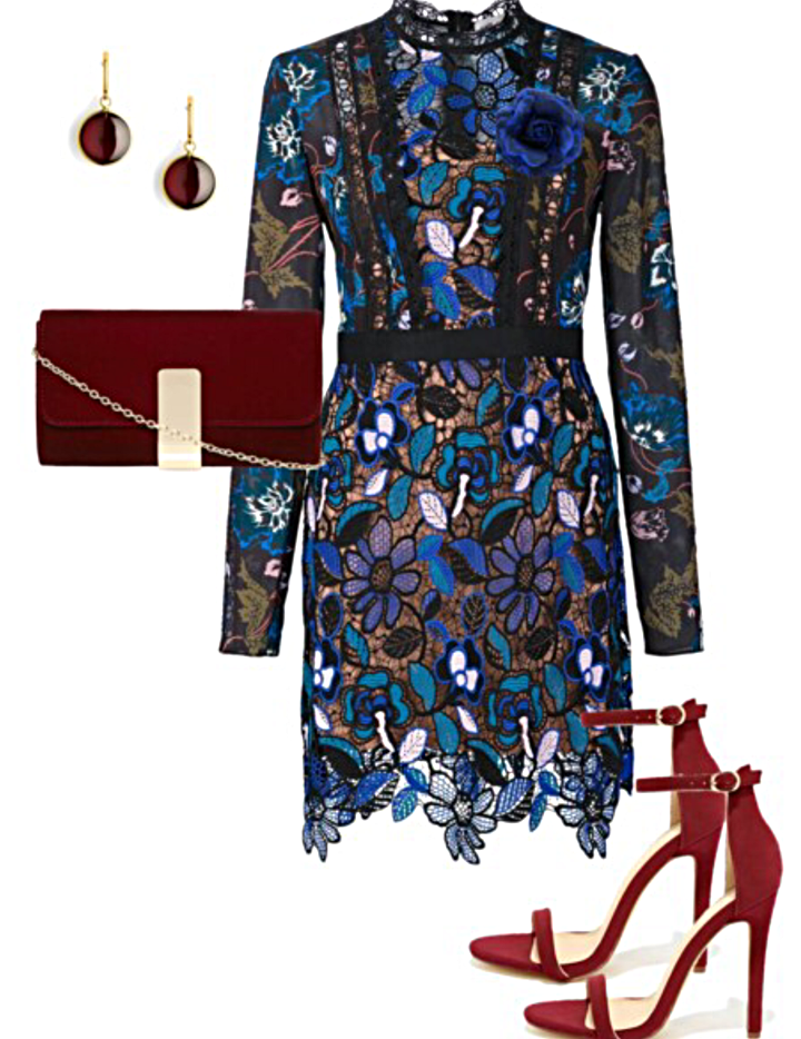 Floral Lace Blue Dress    Flower Brooch    18kt Earrings    Clutch    Ankle Strap Heels