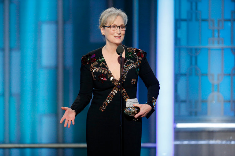 "Meryl Streep used her spotlight at the 2017 Golden Globes as a clarion call to herself and her peers to support the ""principled"" press to hold power to account."