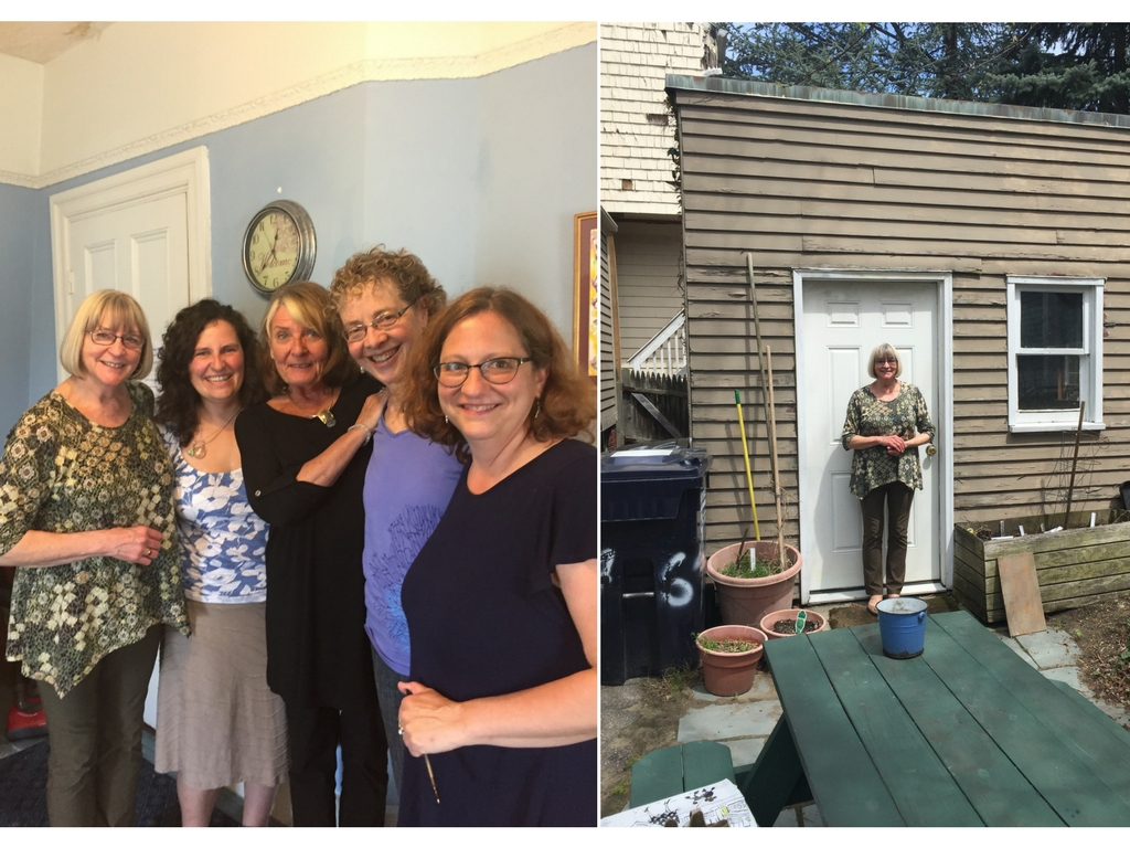 "Left to right: Elaine, Cynthia, Donna, Martha, and Helen                                                                  Dr. Elaine Westerlund at the ""garage"" door."