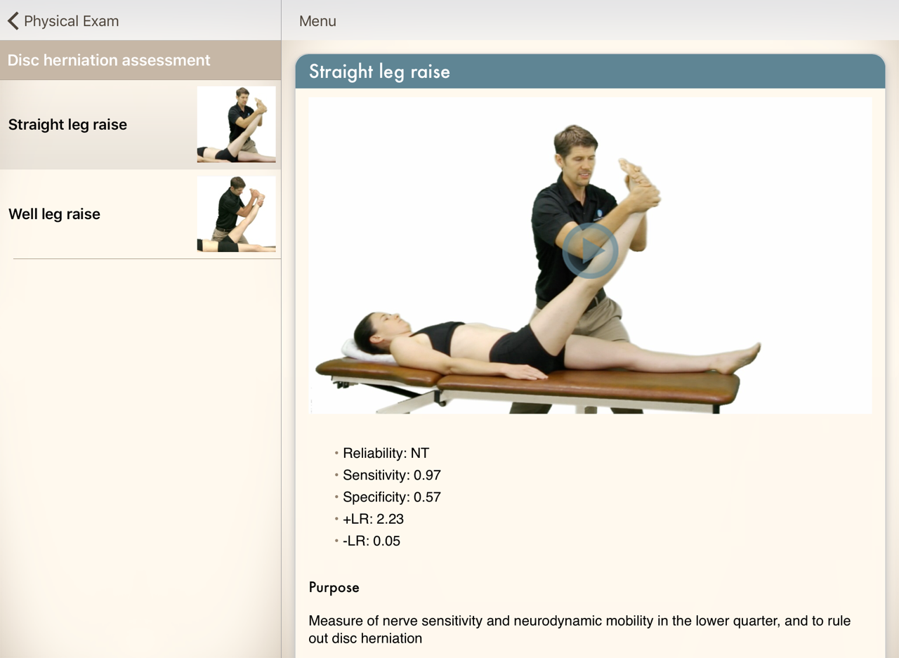Links examination to treatment and therapeutic exercises