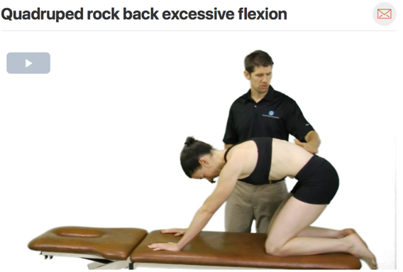 Quadruped rock backs are a gentle way to begin to gain more flexion range of motion in the hip. Therapeutic exercises chosen should always closely match treatment given in clinic. ( Click image to watch 1-2 minute video )