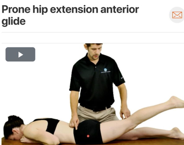 If you suspect labral pathology consider assessing your patient for an anterior humeral movement fault. If the head of the humerus more readily glides anteriorly this can cause excessive stress to the anterior portion of the labrum. Prone hip extension is one way the therapist can assess for anterior humeral glide. ( Click image to watch 1-2 minute video )
