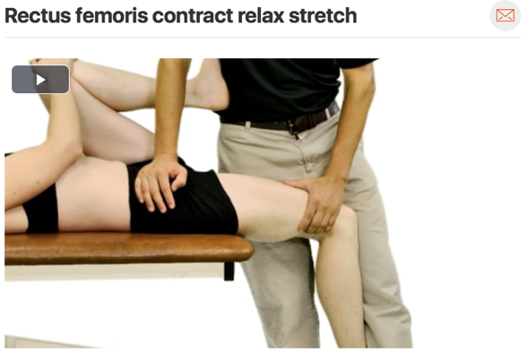 Ensure your patient has  full knee range of motion  before working on strengthening and other higher level activities. A stiff rectus femoris muscle is a common impairment with patella femoral pain syndrome.