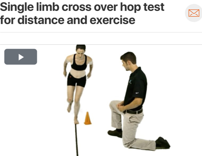 Once full range of motion has been achieved and adequate lower extremity strength and motor control have been established via protocol progression, the next step for patients who plan to return to more vigorous activity would be implementation of plyometric/reactive training.  Single limb hop testing  can also double as therapeutic exercise! (Click image to watch 1-2 minute video)