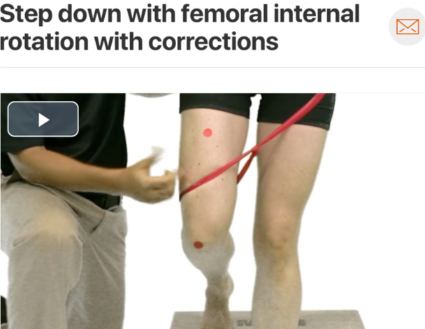 Rehabilitation programs  should address both tissue source and the underlying mechanisms causing tissue pathology. In the case of IT band syndrome, a common mechanism seen is a femoral adduction/internal rotation movement fault. Assess and treat up and down the chain!   (Click image to watch 1-2 minute video)