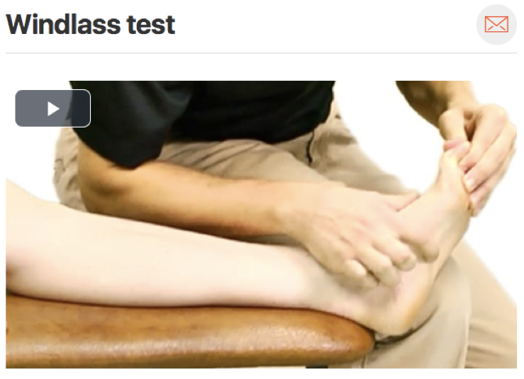 The  windlass test  is a key test to perform when evaluating someone who you suspect has plantar fasciitis. This test is very specific and can rule in the pathology. Pulling the big toe back puts the plantar fascia on stretch and should reproduce the patients pain. (Click image to watch 1-2 minute video)