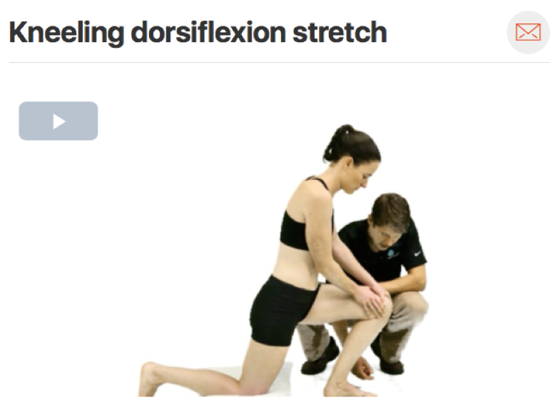 It is important to have your patient work in  gaining dorsiflexion  range of motion at home if you are also working on it in the clinic! This is an example of one of many stretches that can be used to help gain dorsiflexion range of motion. (Click image to watch 1-2 minute video)