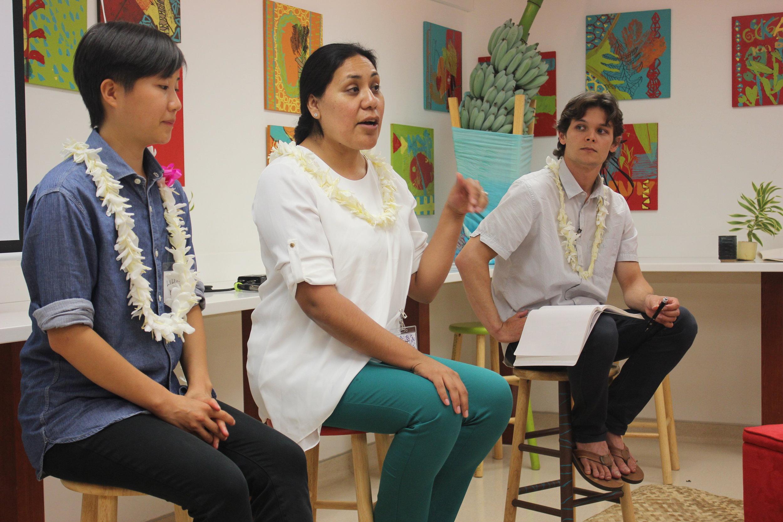 Presenter panel, left to right: Lilian Kong; A-dae Romero-Briones; Frederick Reppun