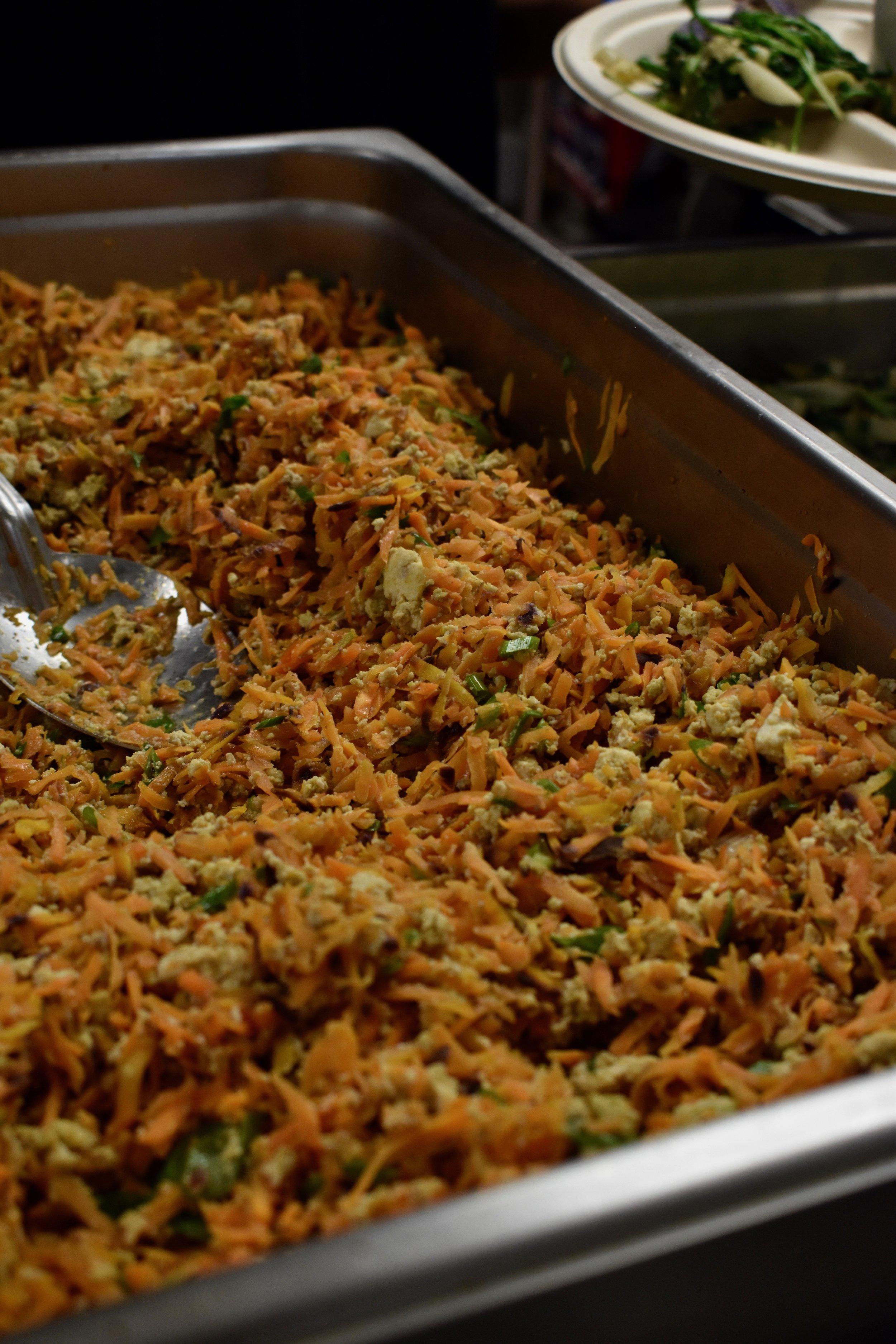 Ninjin Shirishiri - Kahumana Farms carrot and Mrs. Cheng's tofu stir-fry with Kolea Farm green onionBy Aiko Yamashiro