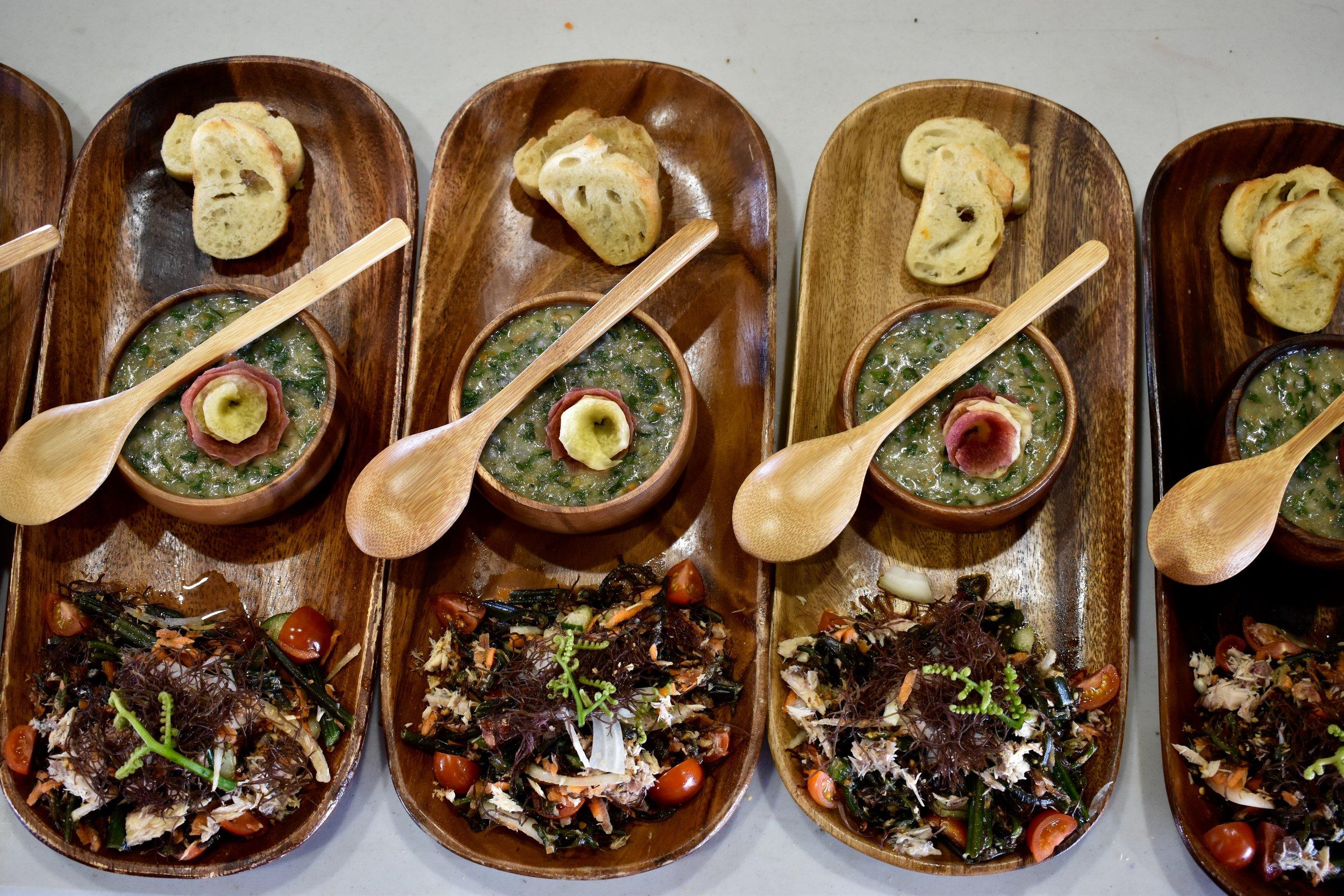 Mackerel and Kako'o 'Oiwi Ho'i'o Salad - With Kalo Coconut Bisque