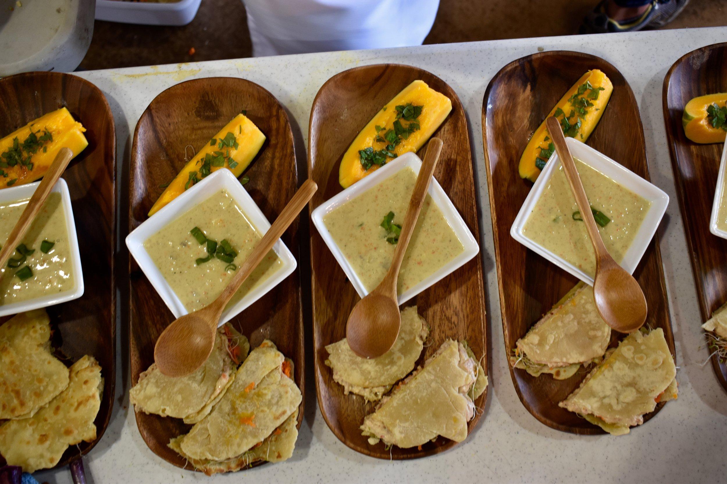 Salmon and Tuna Salad on Homemade Flatbread - With Corn Chowder