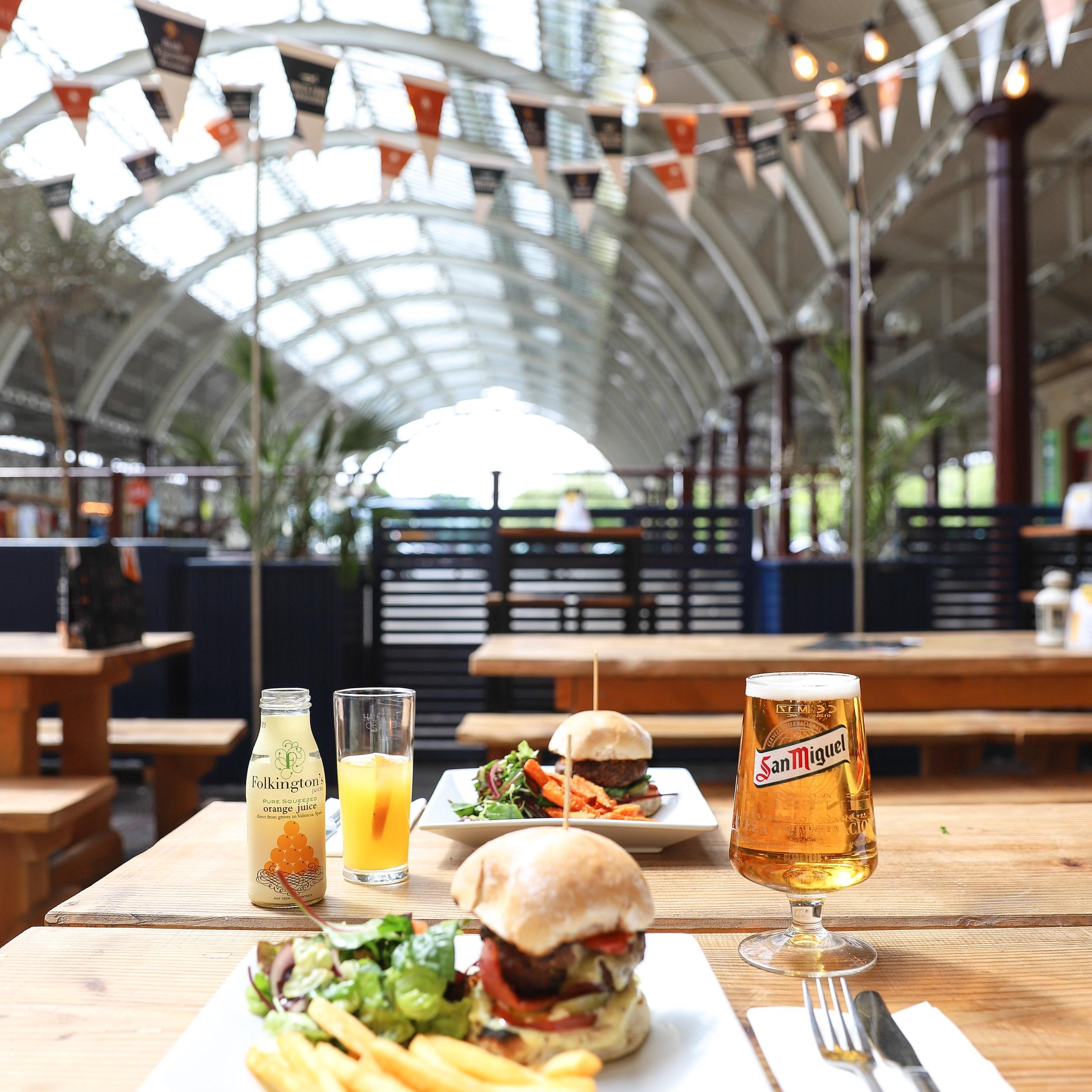 Burgers at Green Park Brasserie's alfresco terrace