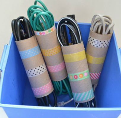 Cardboard tubes - You don't have to throw away all your toilet roll tubes! The 'What Would Foxy Do' advice section on Foxy Bingo advises storing cables in your toilet rolls so that you won't have wires lying around the house. This is an easy fix for preventing your cords from becoming one giant, tangled mess.Bonus: occupy the kiddos for a few hours by having them help you decorate the rolls!