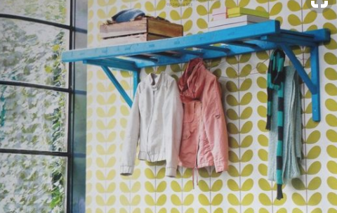 Ladders - If don't have a use for an old ladder in your home, breathe new life into it by mounting it on the wall and using it as a drying rack! This would also work in a guest room for extra storage, or a kids' room as a shelf!