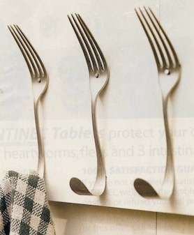 Utensils - If you have too much silverware at home, you can transform some of them into wall hooks, where you can hang small items such as keys, dish towels, or kitchen utensils.Bonus: If you have lots of old utensils, like I do, you can keep a drawer of all the mismatched ones to use for parties, kiddos, picnics, etc.!
