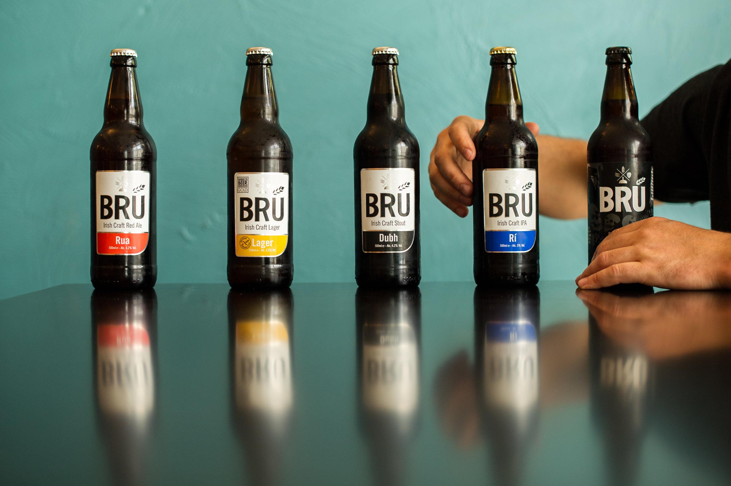 You can find the BRÚ craft beer range in 500ml bottle at selected SuperValu, Centra, Tesco, Spar, EuroSpar, Londis, Aldi & LIDL and independant off licences throughout Ireland and the UK.