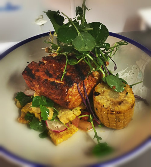 Char grilled fillet of salmon with sweetcorn salsa