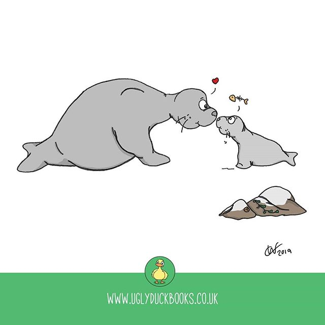 Look of love or look of hunger, it's hard to tell. . . . . . #ontuesdayswedraw #parenting #thelookoflove #feedme #mum #dad #parent #parentlife #babysealion #baby #needy #illustration #drawmore #drawing #cartoon #illustrated #sealion #seal