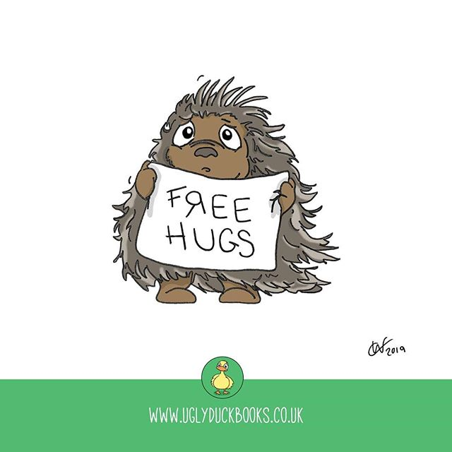Hugs make everything better. . . . . . #ontuesdayswedraw #parenting #porcupine #hugs #freehugs #freehugssign #thebestthingsinlifearefree #hugme #illustration #childrensillustrators #doodle #childrensbookillustrations #instadraw #weeklydrawing