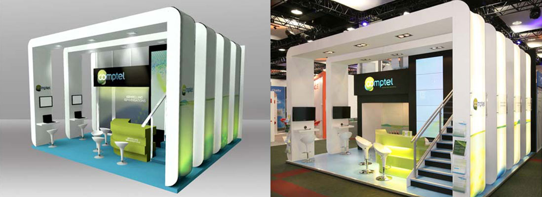 Comptel bespoke design and build exhibition stand