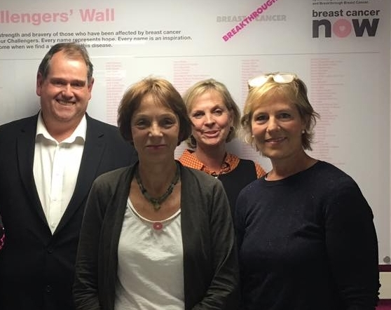 At Breast Cancer Now - Institute of Cancer Research with Adrian Melrose, Professor Isacke, Sally Ball and Belinda Gray