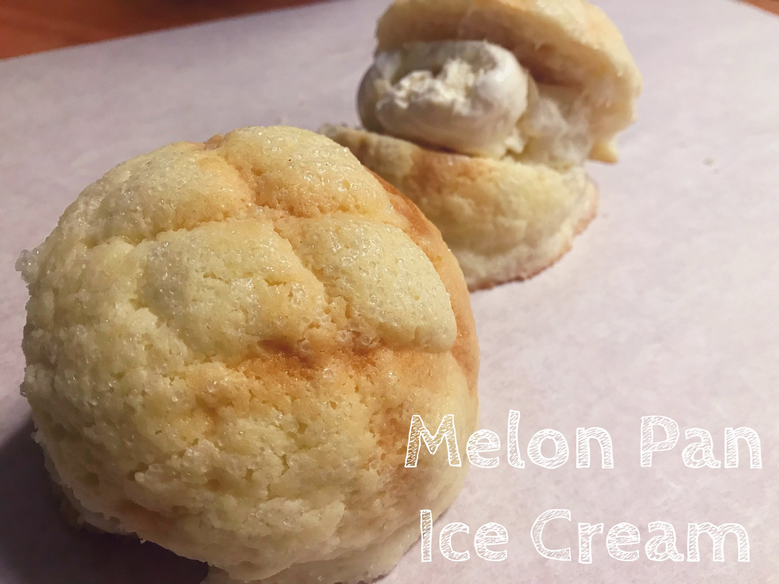 Melon Pan Ice Cream!   Freshly baked melon pan served with a scoop of ice cream: matcha (green tea), vanilla, or chocolate! The soft and slightly sweet melon pan goes perfectly with ice cream, a dessert you have to try!