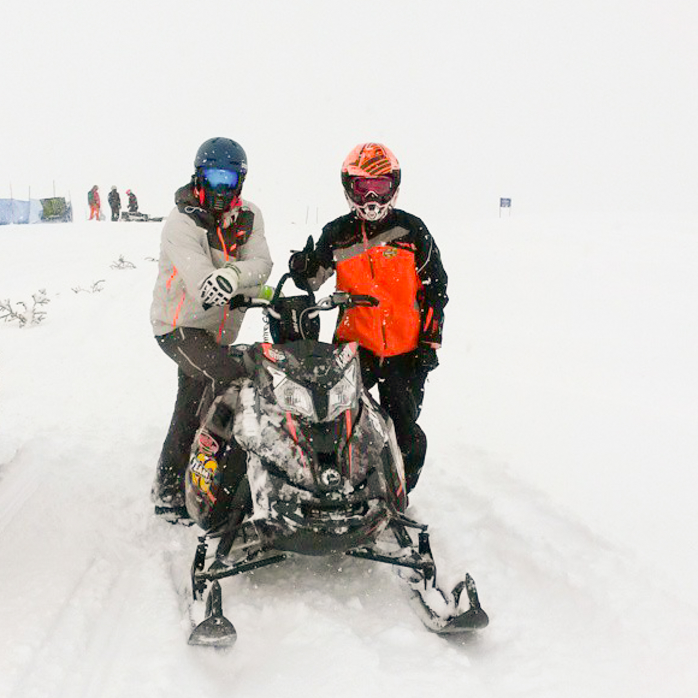 Steve Nyman, Worldcup downhill skier and Luc Karpik at ArcticMan Race in AK