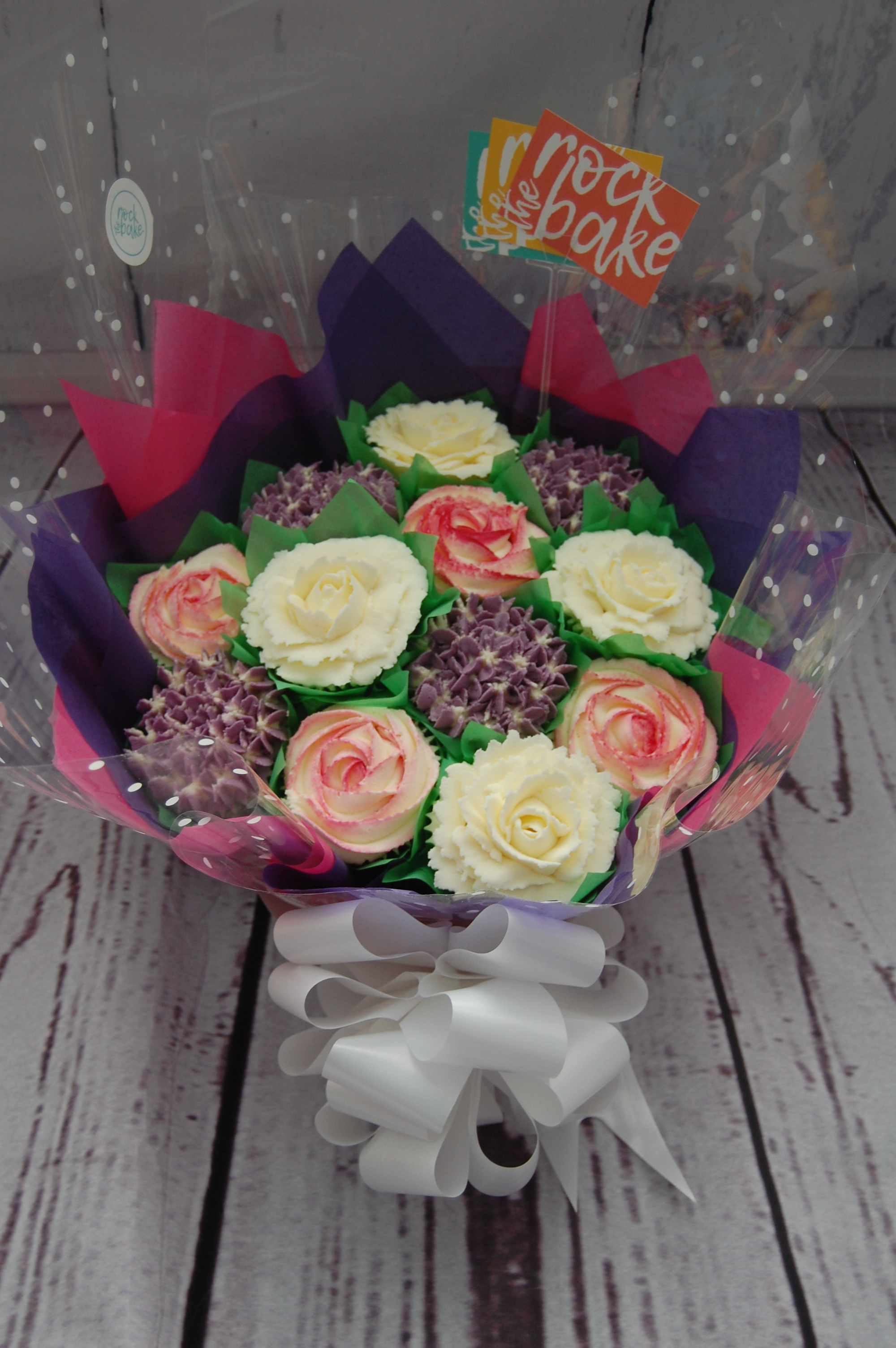 Standard Cupcake Bouquet in bold pinks and purples