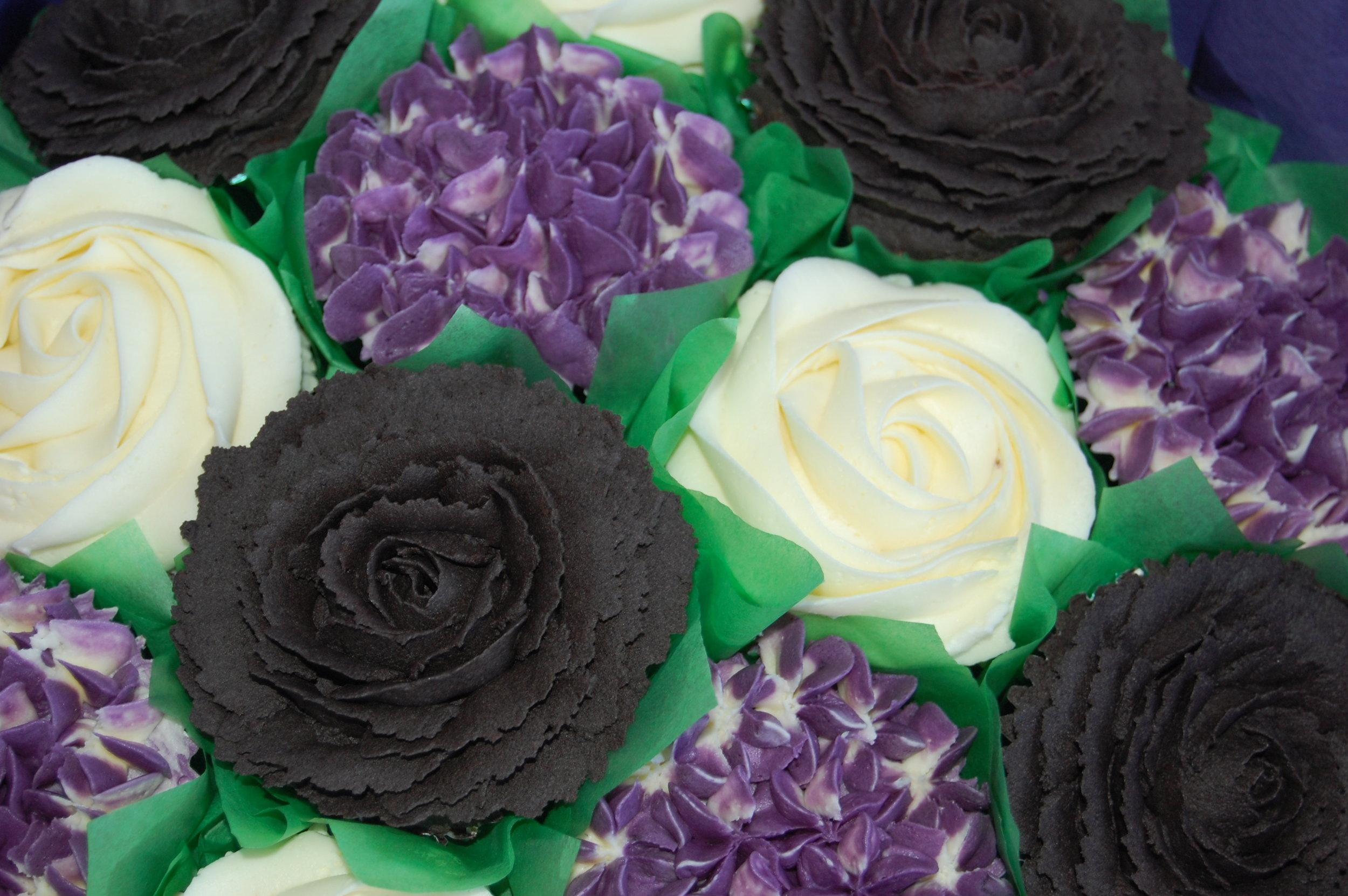 Black and purple cupcake bouquet