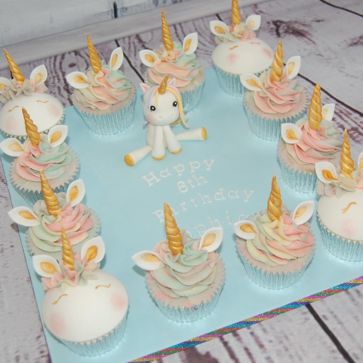 Unicorn cupcake platter