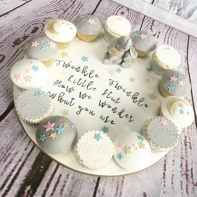 A beautiful elephant themed cupcake platter from last week... Twinkle twinkle ✨🐘 #rockthebake #stourbridge #hagley #wollaston #kinver #wallheath #kingswinford #babyshower