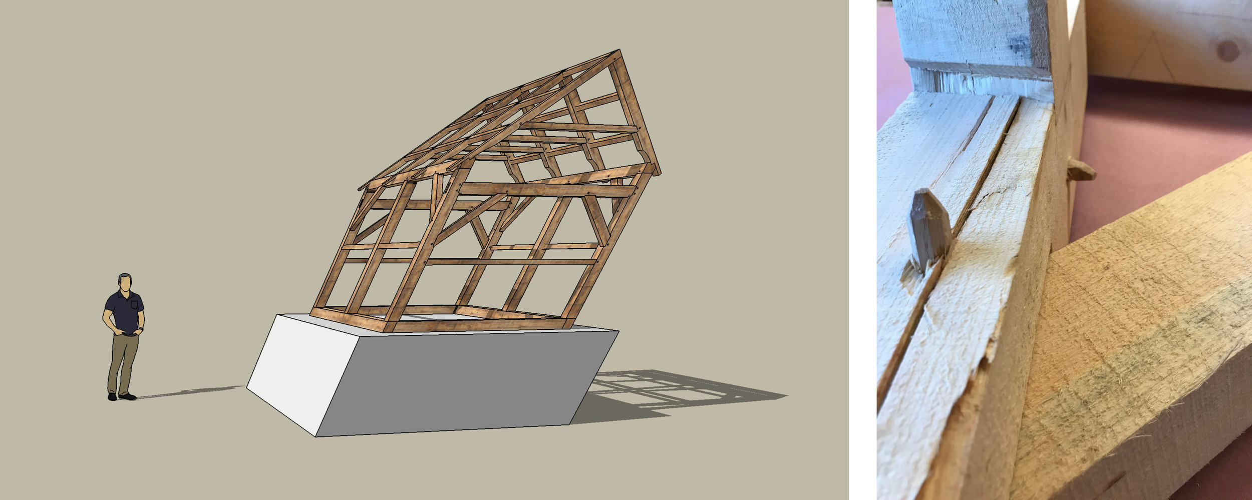 Left to right: A 3-D proposal sketch of  Skew ; timber-framing experiments with compound angles.