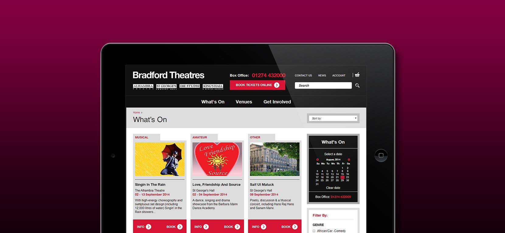 Bradford Theatres - responsive mobile designs