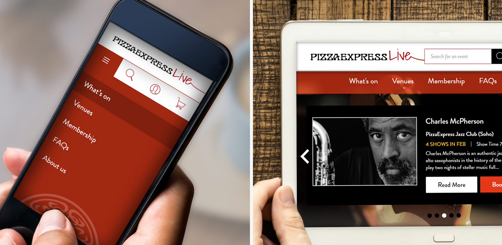 PizzaExpress Live - responsive mobile designs