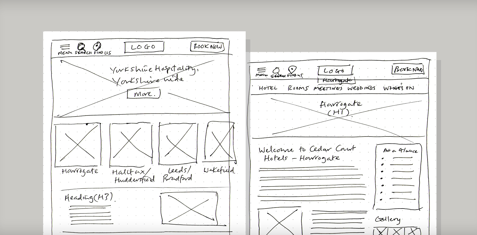 Cedar Court Hotels - UX wireframes